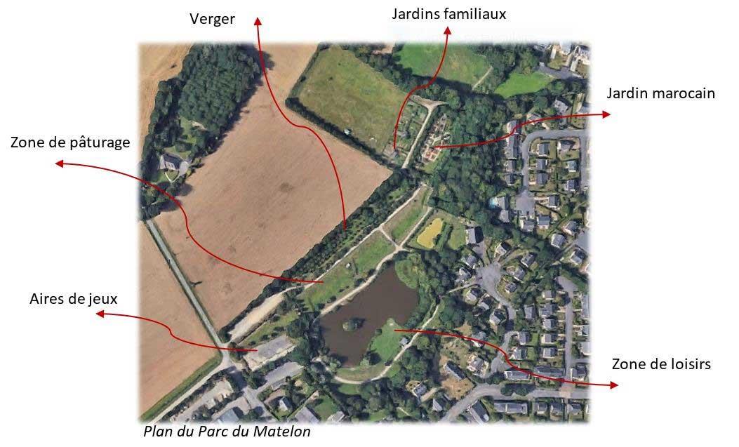Le plan du Parc du Matelon à La Chapelle-des-Fougeretz