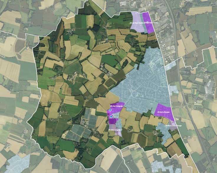 carte des zones d'activités de la commune La Chapelle-des-Fougeretz